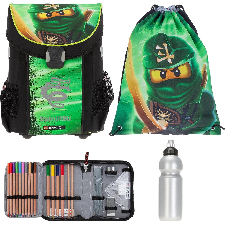 4 T Set LEGO Easy Schulranzen + Sportbeutel + Federmäppchen gefüllt + Trinkflasche (Ninjago Lloyd Garmadon 1807)