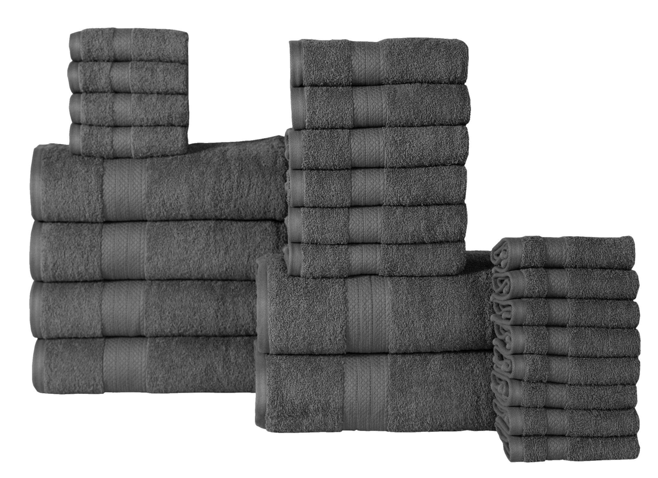 Affinity Home Collection ET24 Economic 24Piece 100% Cotton Bath Towel Set,Grey