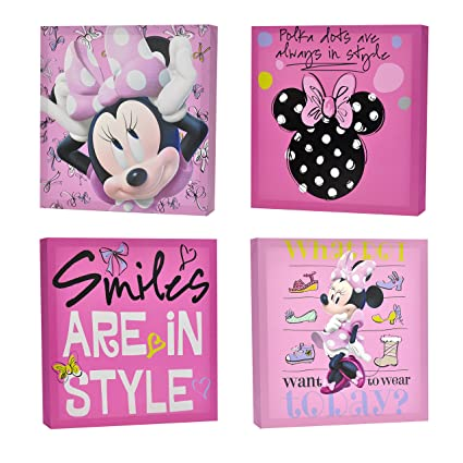 Amazon.com: Disney Minnie Mouse Canvas Wall Art (4-Piece): Toys & Games