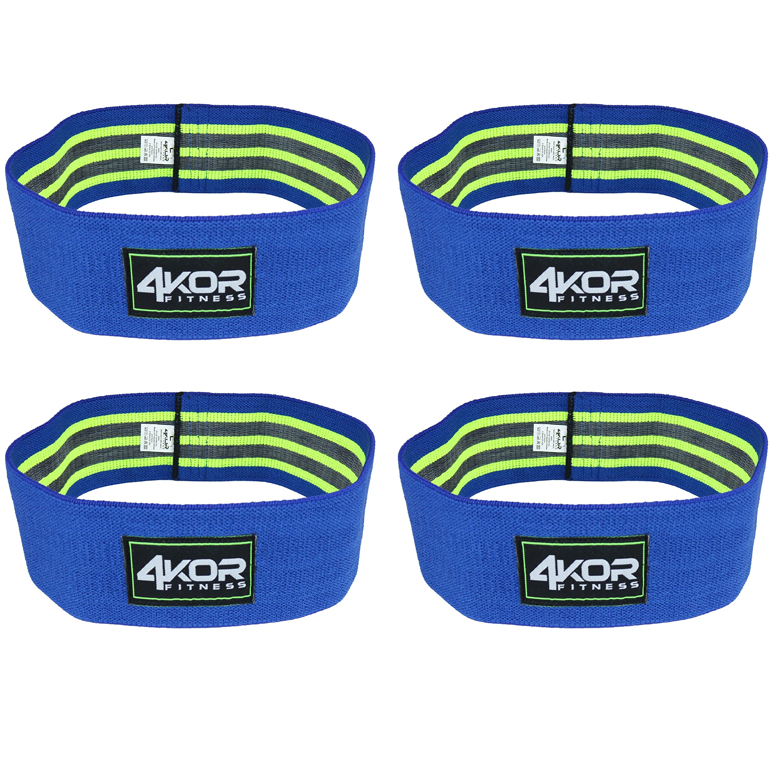 4KOR Fitness Resistance Loop Band Set, Perfect for Crossfit, Yoga, Physical Therapy, and Booty Building (4 Grippy Hip Band Set (Blue, All Large))