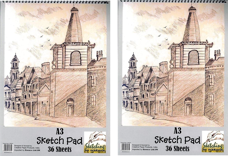 2 x grande A3 Sketch Pad 110 gsm 36 fogli carta bianca disegno Artist set