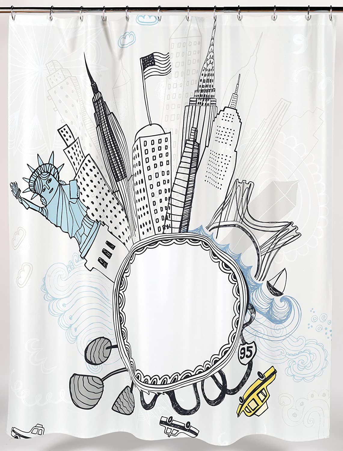 """Funky City"" Fabric Shower Curtain"