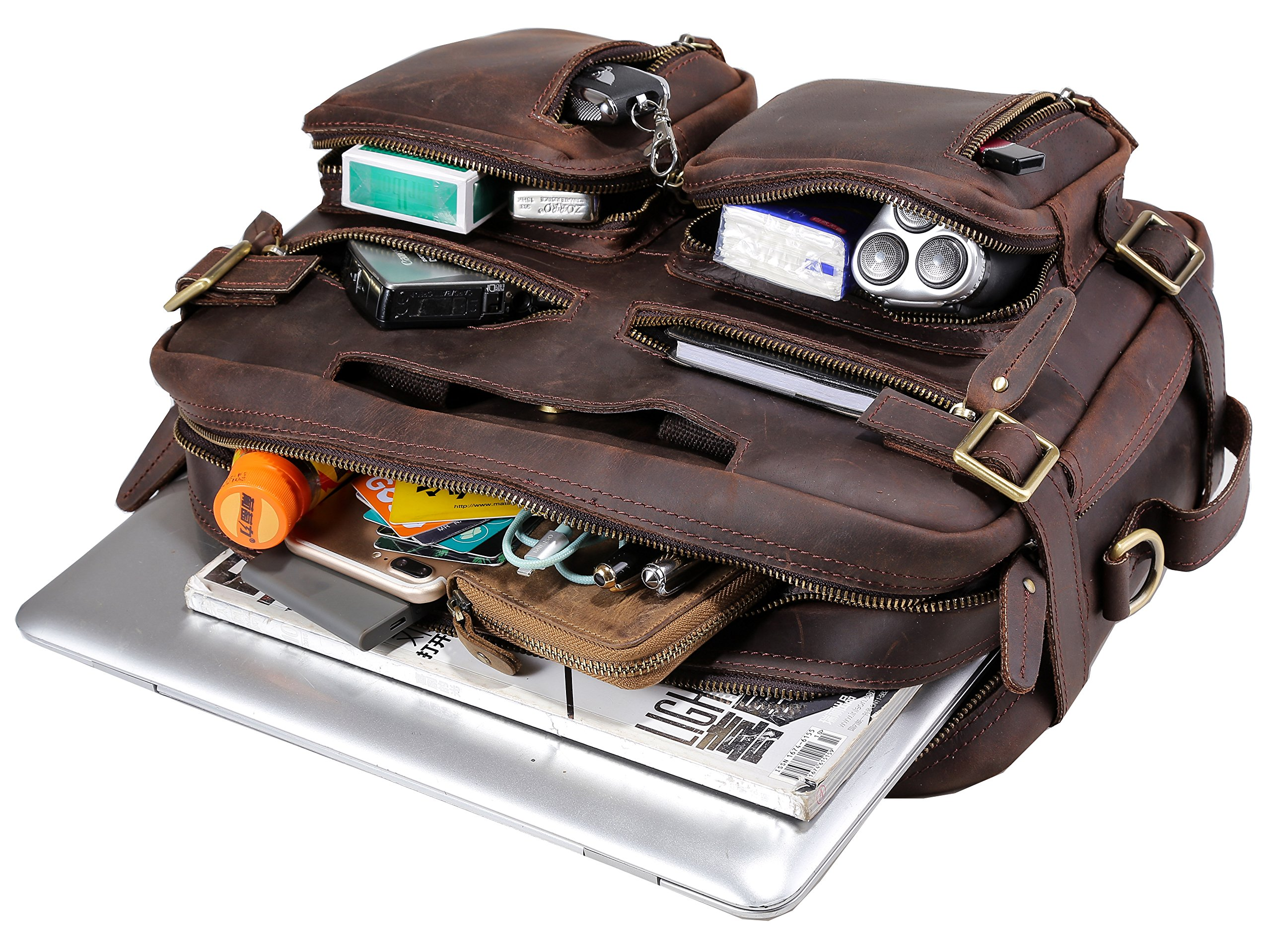 Iswee Men Messenger Bag Leather Laptop Briefcase Convertible Backpack Handbag by Iswee