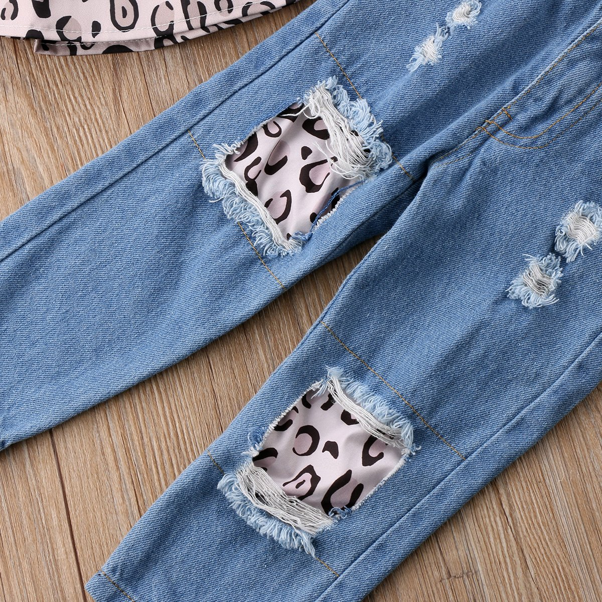 Imcute Baby Girls Off Shoulder Polka Dot Top Destroyed Ripped Jeans