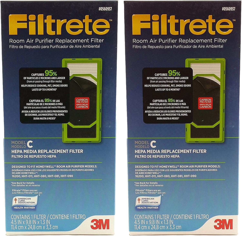 Filtrete # 0560937 habitación purificador de aire con filtro de repuesto, modelo C para modelos Honeywell 16200, hht-011, hht-080, hht-081 y hht-090 – Juego de 2: Amazon.es: Hogar