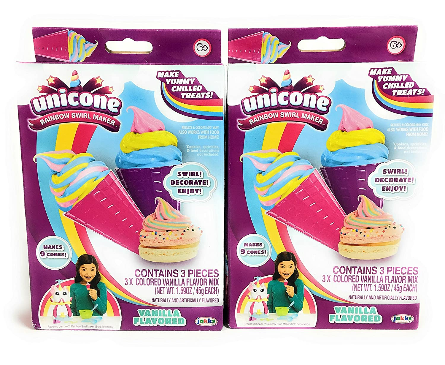 Unicone Rainbow Swirl Maker | Vanilla Flavored Mix | Bundle Set of 2 Boxes | Total of 6
