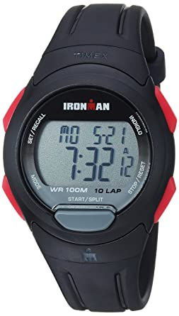 5e0f4c1d791a Timex Men s TW5M16400 Ironman Essential 10 Black Red Resin Strap Watch