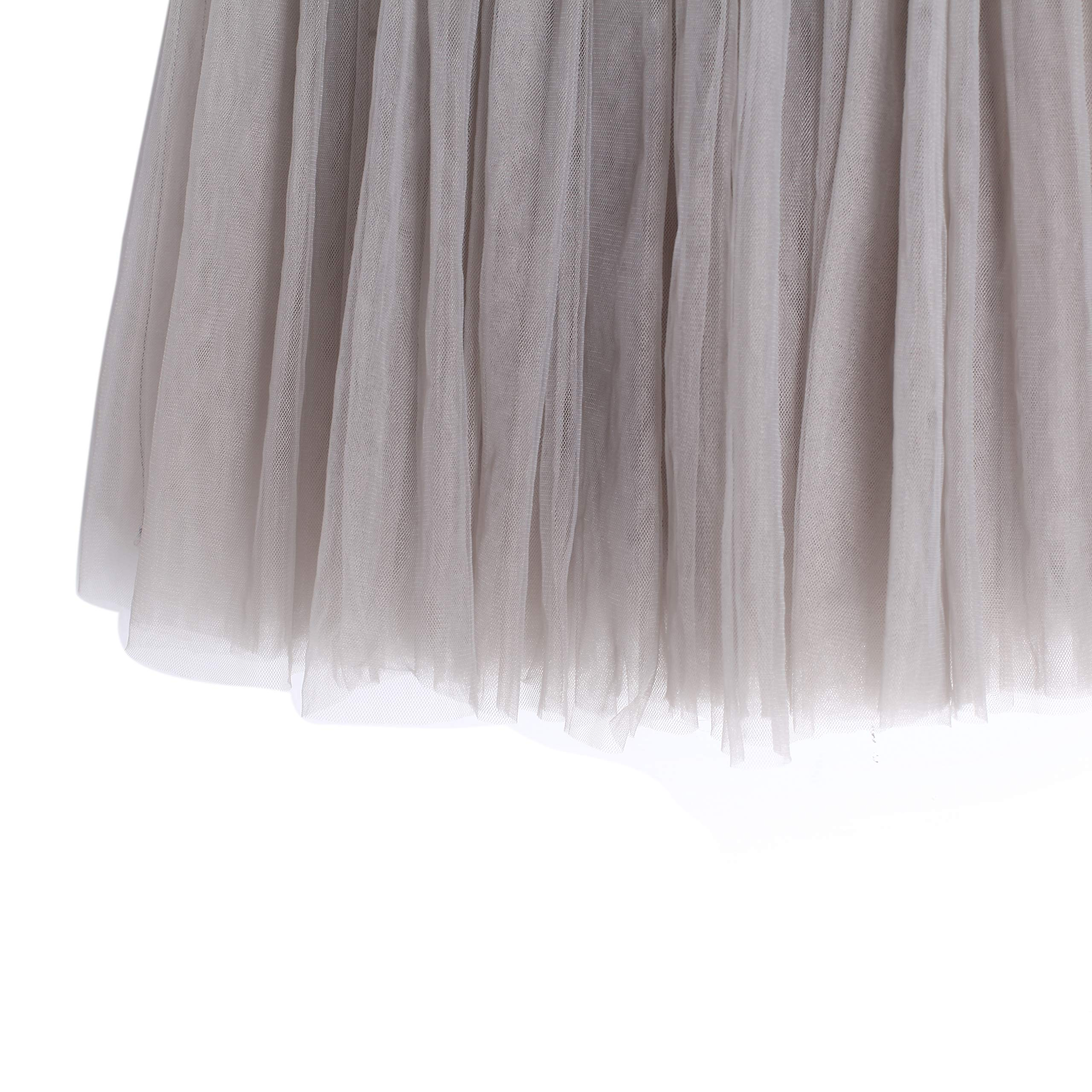 Flofallzique Tulle Tutu Girls Skirts for 1-12 Years Old Dancing Party Toddler Clothes(6, Gray) by Flofallzique (Image #5)