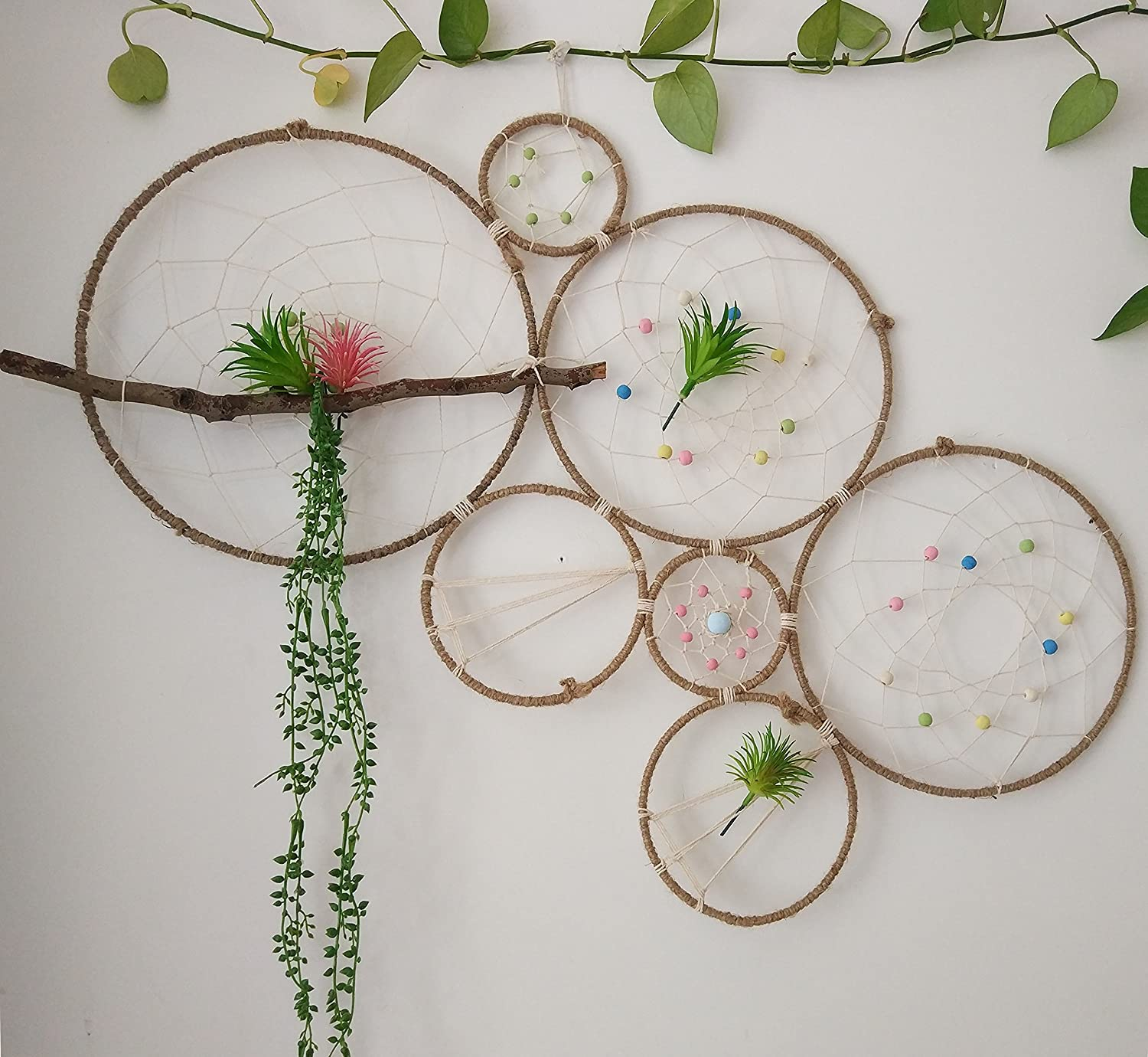 with Faux Artificial Succulent Cactus Plants /並/行/輸/入/品 Dreamcatcher Set-Wall Display Accent-Rustic Wedding Backdrop RISEON DIY Large Boho Tillandsia Dream Catcher Natural Air Plant Wall Hanger Holder Stand