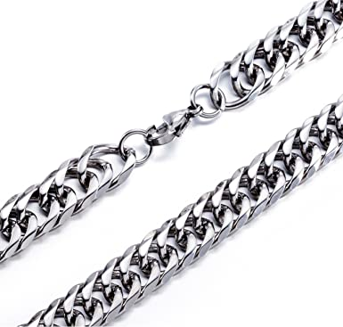 High Polished 11mm 16 Inches Stainless Steel Double Curb Chain Necklace Franco Cuban Chain For Mens Womens Amazon Com