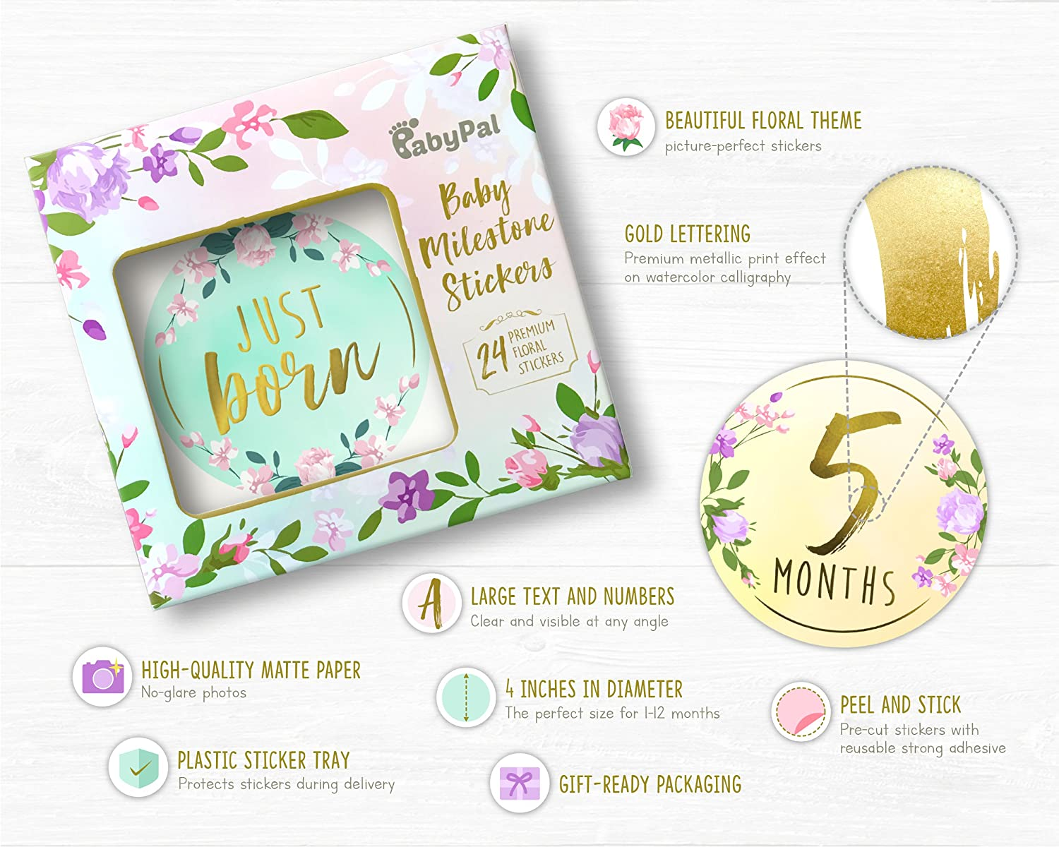 Amazon com baby monthly milestone stickers set of 24 premium gold floral baby month stickers for newborn girl first year best baby shower registry