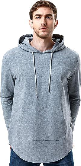 Men/'s Hipster Hip Hop Longline Pullover Short Sleeve Hoodies Shirts Side Zipper
