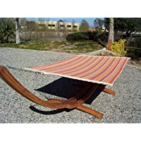 Petra Leisure 14 Ft. Wooden Arc Hammock Stand + Quilted, Double Padded Hammock Bed. 2 Person Bed. 450 LB Capacity. Teak Stain Finish