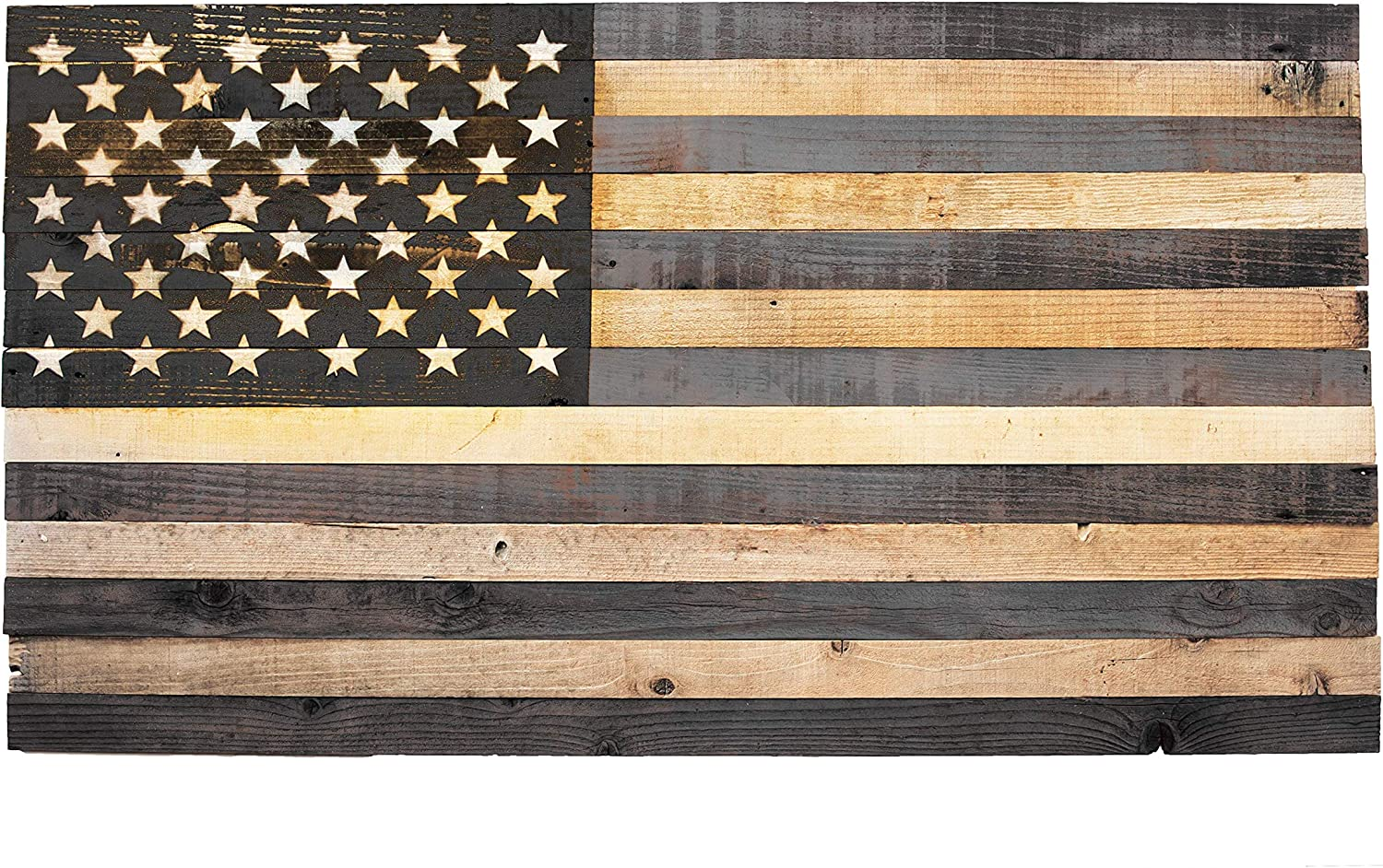 """Wooden Rustic Home D/écor Farmhouse Wall Art 36x19 Handmade Wood /""""Thin Red Line/"""" American Flag with 3-D Raised Stars for Firefighters Veteran made in Arkansas"""