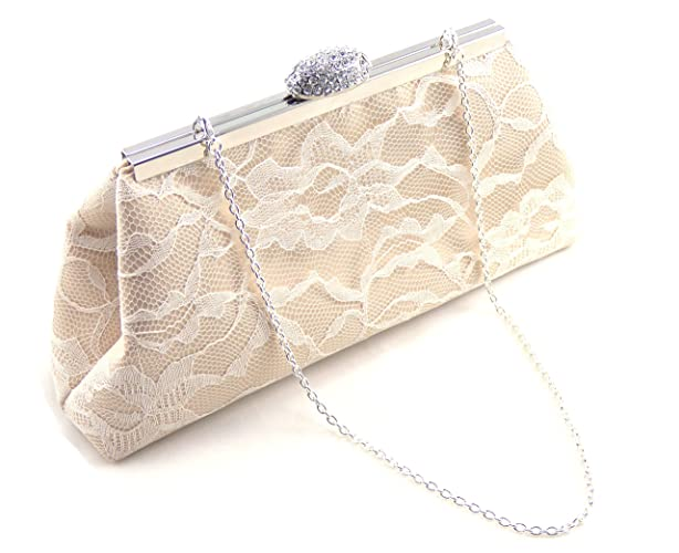 champagne and ivory lace bridesmaid clutch wedding clutch mother of the bride gift