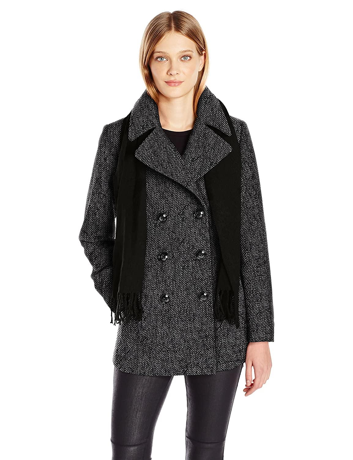 London Fog Womens Double Breasted Peacoat with Scarf London Fog Women' s Outerwear