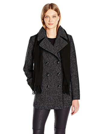 de51522c43a Amazon.com  London Fog Women s Double Breasted Peacoat with Scarf ...