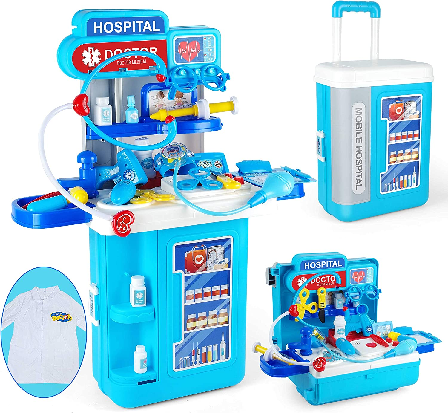 JOYIN 4 in 1 Doctor Medical Toy Pretend Play Set Including Electronic Stethoscope and Doctor Coat, Doctor Equipment Roleplay