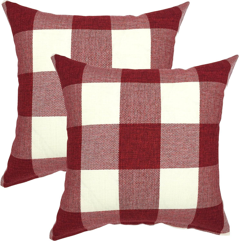 YOUR SMILE Retro Farmhouse Buffalo Tartan Chequer Plaid Cotton Linen Decorative Throw Pillow Case Cushion Cover Pillowcase for Sofa,Set of 2 (Red, 20''x20'')