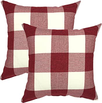 YOUR SMILE Christmas Classic Retro Farmhouse Buffalo Tartan Checkers Plaid Cotton Linen Decorative Throw Pillow Case Cushion Cover Pillowcase for Sofa ...