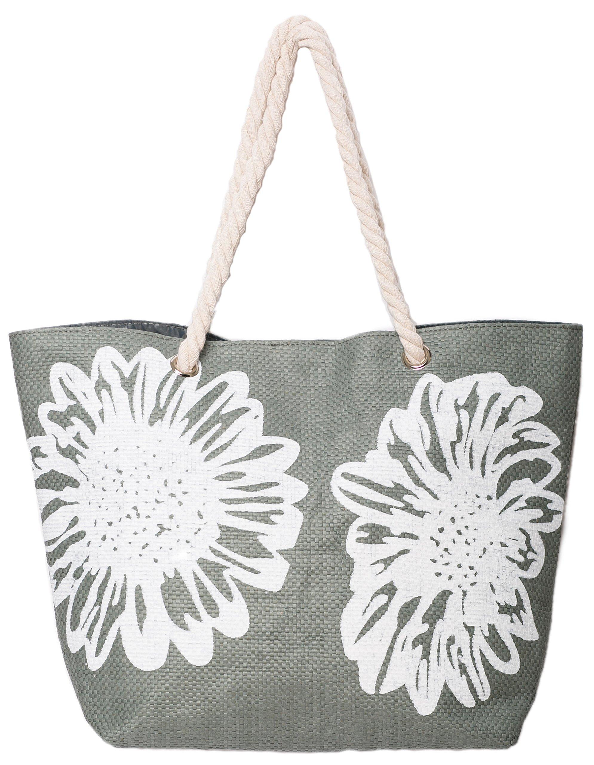 Beach Bag Tote Bags for Women Ladies Large Summer Shoulder Bag With Pocket Carrier Bag Flower (Gray)