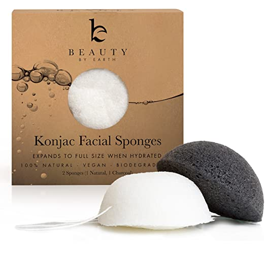 Konjac Sponge - Pack of 2 Facial Sponges (Charcoal Black & Natural White) for Sensitive to Oily & Acne Prone Skin - Gentle Face Scrub, Cleanser and Exfoliation Made with Natural Fibers