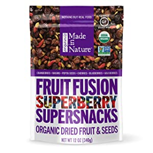 Made in Nature Superberry Fruit Fusion, Organic Dried Fruit and Seeds Trail Mix, Vegan Snack, 12 Ounce Bag