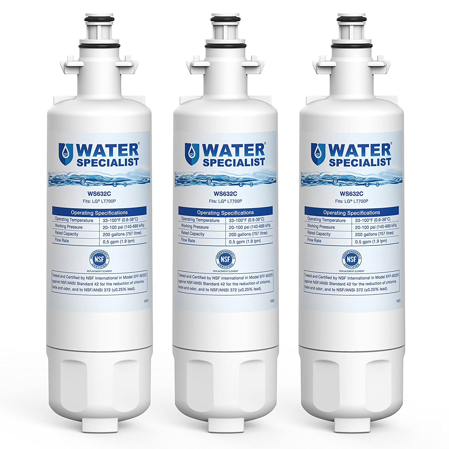 Waterspecialist ADQ36006101 Refrigerator Water Filter, Replacement for LG LT700P, Kenmore 9690, 46-9690, 469690, ADQ36006102, LT700PC, WSL-3, R-9690, LFXS30766S, LFXC24726D (Pack of 3)