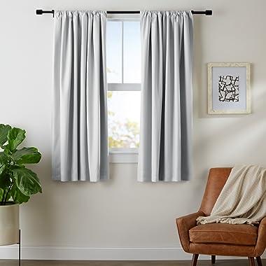 AmazonBasics Room Darkening Blackout Window Curtains with Tie Backs Set, 42  x 63 , Light Grey