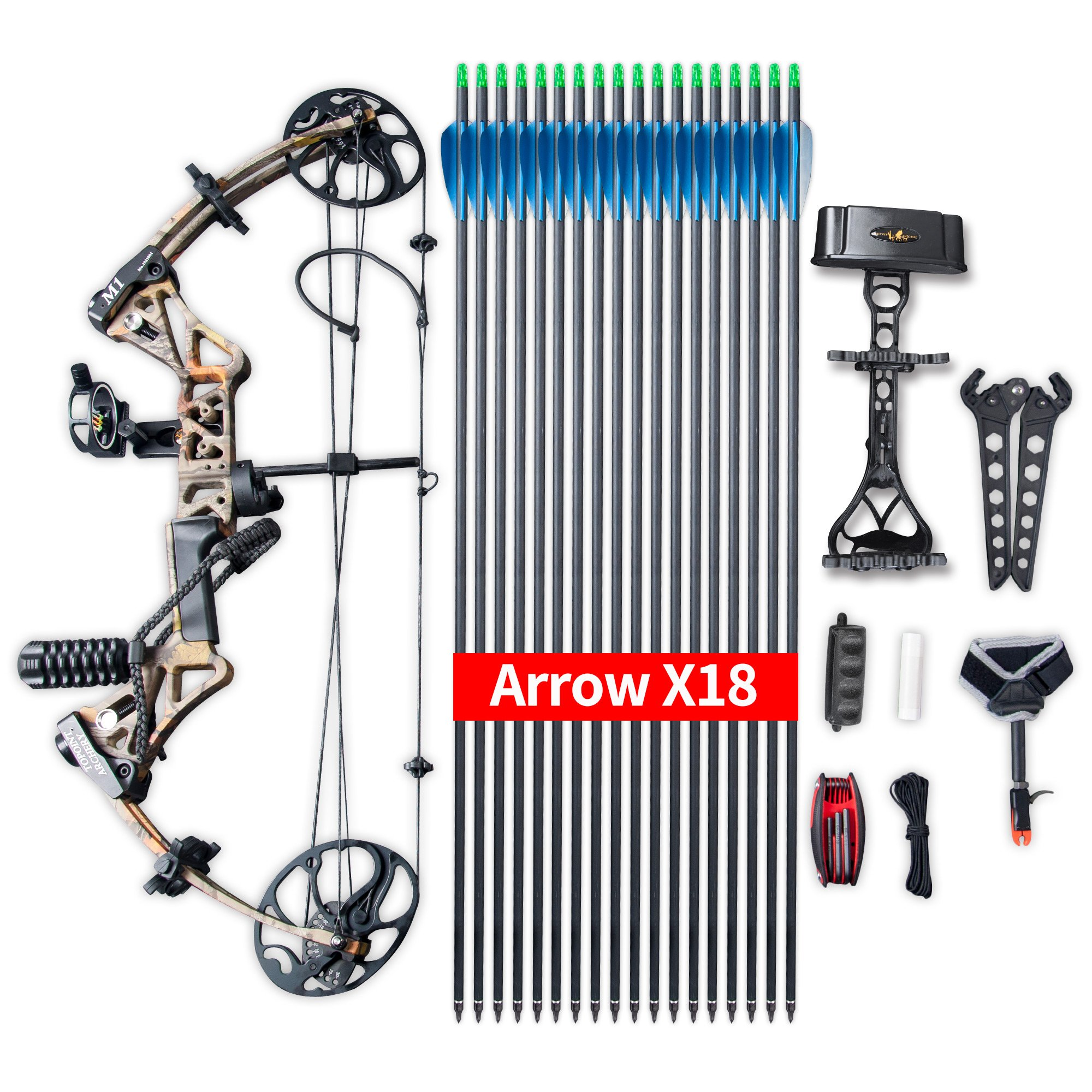 """Compound Bow Ship from USA Warehouse,Topoint Archery Package,M1,19""""-30"""" Draw Length,19-70Lbs Draw Weight,320fps IBO Limbs Made in USA (Forest camo)"""