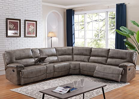 Amazoncom Donovan 6Piece Sectional with 3 Recliners Kitchen