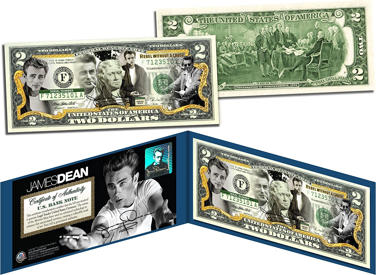 JAMES DEAN Rebel Without a Cause Legal Tender US Colorized $2 BillLICENSED