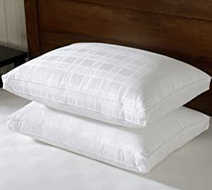 Luxury Gusseted Down Pillow (Queen- Set of 2 Premium Quality Bed Pillows 650 Fill Power 600TC 100% Cotton Cover,Soft Pillows for Sleeping