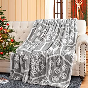 ISEAU Christmas Throw Sherpa Blanket Snowflake Pattern Holiday Theme Home Decor Fleece Blanket, Ultra Soft Fluffy Throw Comfy Fuzzy Warm and Cozy Throws for Winter Bedding, 60x80 inch, Grey