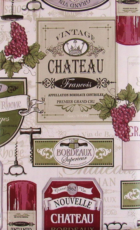 Vintage Wine, Grapes and Corkscrews Vinyl Flannel Back Tablecloth (52