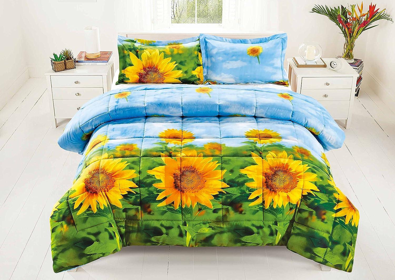 3 Piece Set Box Stitched Sunflower Prints 3d Comforter Set (Y012) Queen Size