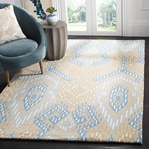 Safavieh Wyndham Collection WYD373B Handmade Beige and Blue Wool Square Area Rug