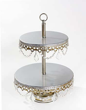 Opulent Treasures Two Tiered Chandelier Cake Plate (Silver)  sc 1 st  Amazon.com & Amazon.com | Opulent Treasures Two Tiered Chandelier Cake Plate ...