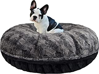 product image for BESSIE AND BARNIE Signature Arctic Seal/ Black Puma Luxury Extra Plush Faux Fur Bagel Pet/Dog Bed (Multiple Sizes)