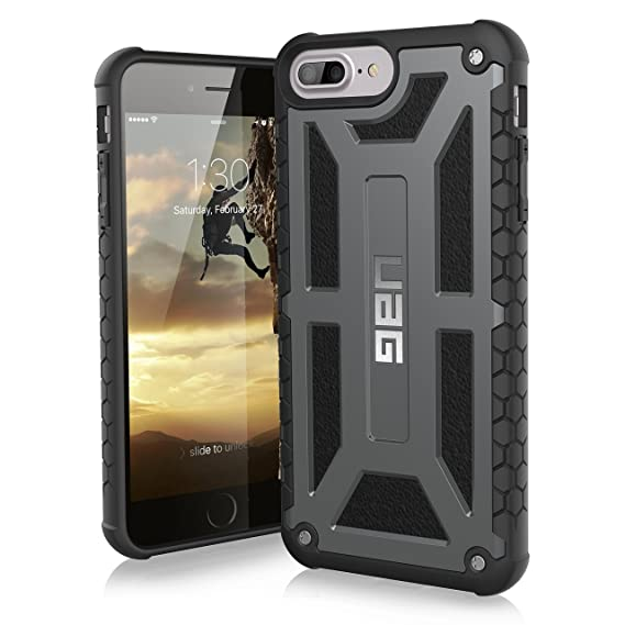 big sale 9b0b2 75693 URBAN ARMOR GEAR UAG iPhone 8 Plus/iPhone 7 Plus/iPhone 6s Plus [5.5-inch  Screen] Monarch Feather-Light Rugged [Graphite] Military Drop Tested iPhone  ...