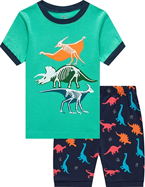 shelry Boys Dionosaurs Pajamas Children Cartoon Sleepwear Kids Summer 100%  Cotton Short Set 5 Years b50cd5e06