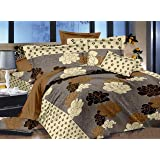 Ahmedabad Cotton Aspire 180 TC Sateen Bedsheet with 2 Pillow Covers - Brown