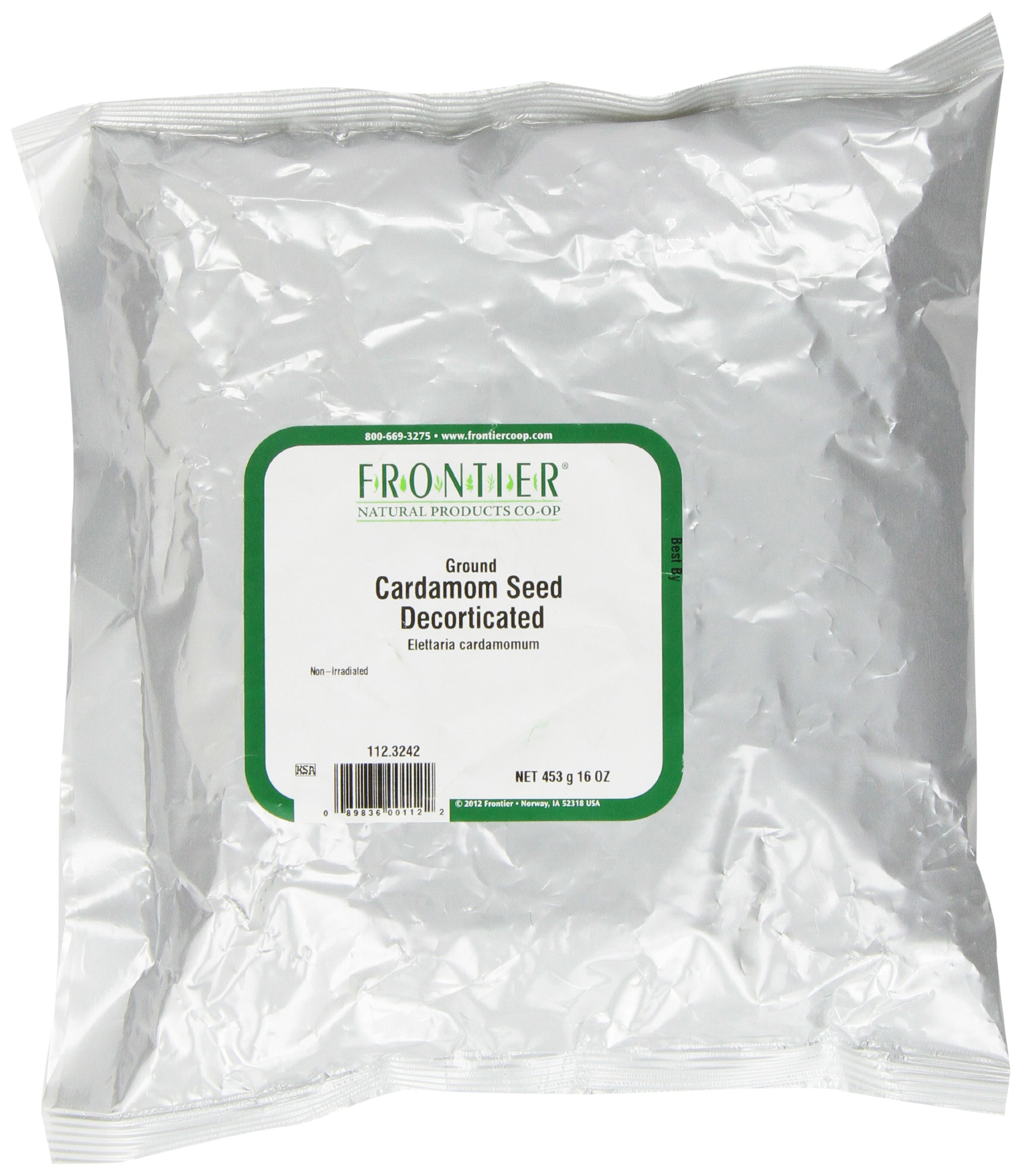 Frontier Ground Cardamom Seed, Decorticated, 16 Ounce Bag