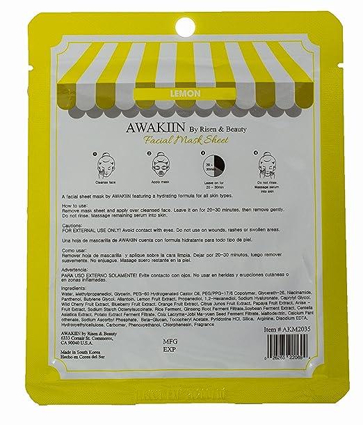 Amazon.com : Vitamin Rich Lemon Brightening Facial Sheet Mask 10 Pack Korean Skin Care : Beauty