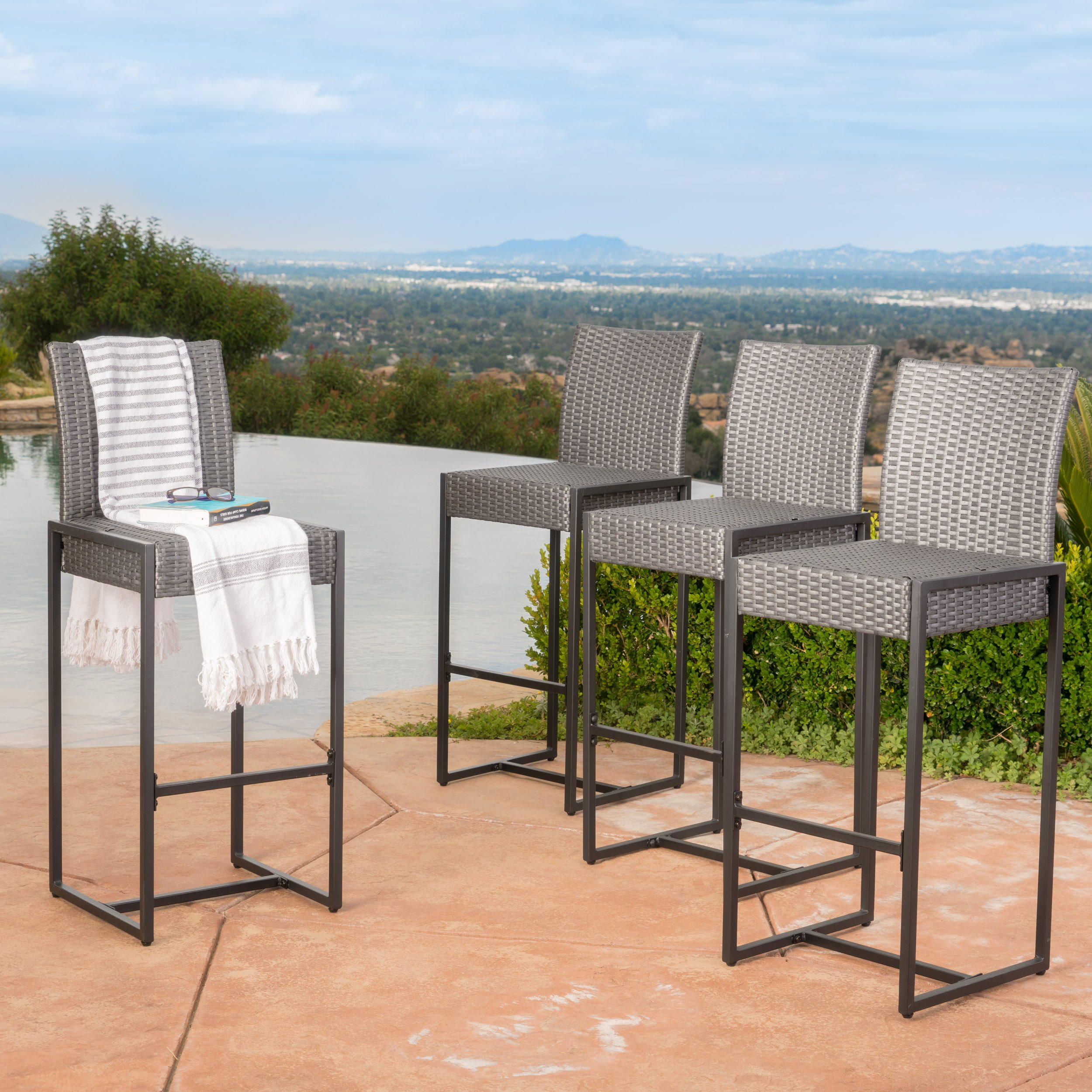 Conrad Patio Furniture ~ Outdoor Bar Stools (Grey) (Wicker) (Set of 4) by GDF Studio
