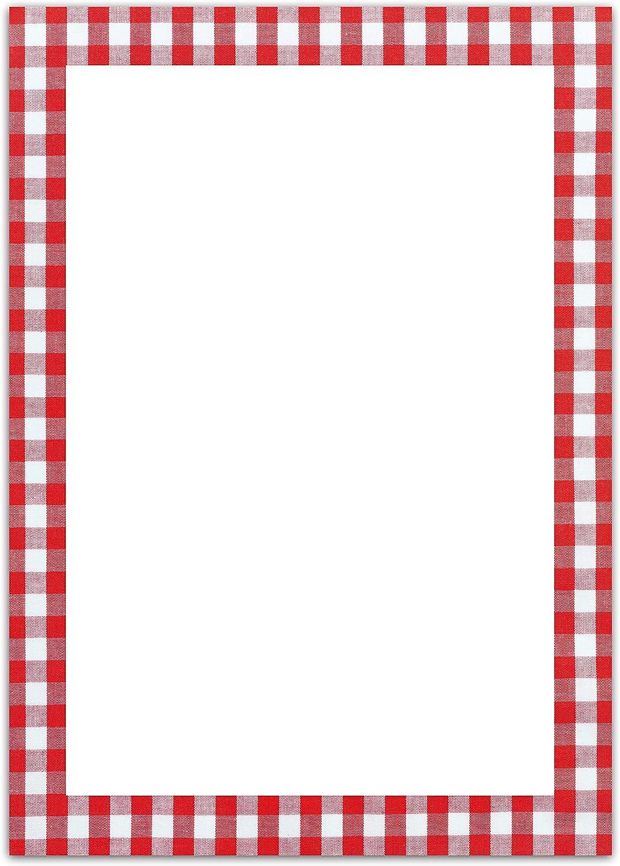 25 Blatt Briefpapier Druckerpapier ROT wei/ß kariert einseitig bedruckt RAHMEN 100g Schreibpapier Motiv-Papier DIN A4 Brief-Bogen Bayern bayerisch Design-Papier