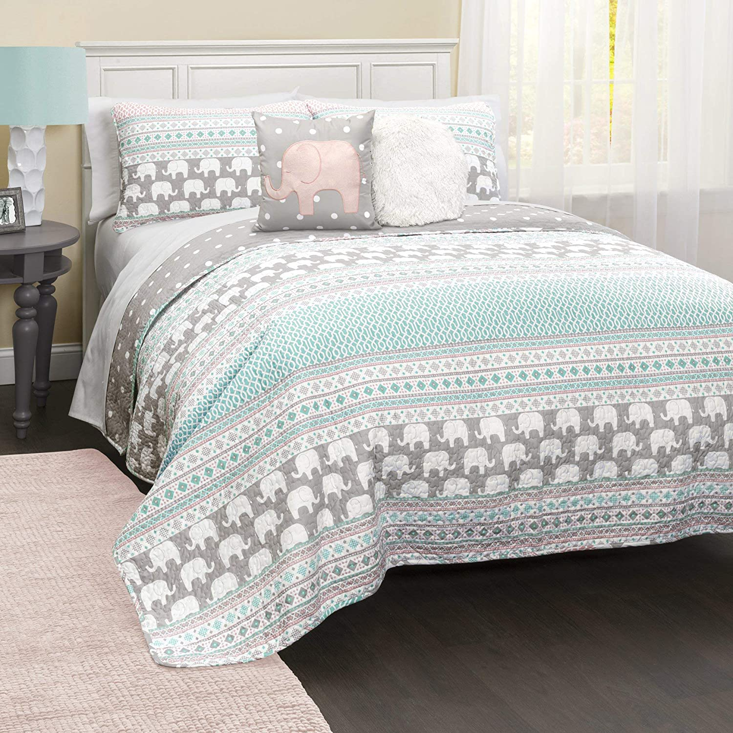 Lush Decor Elephant Striped Quilt Reversible 5 Piece Bedding Set Full/Queen, Turquoise & Pink