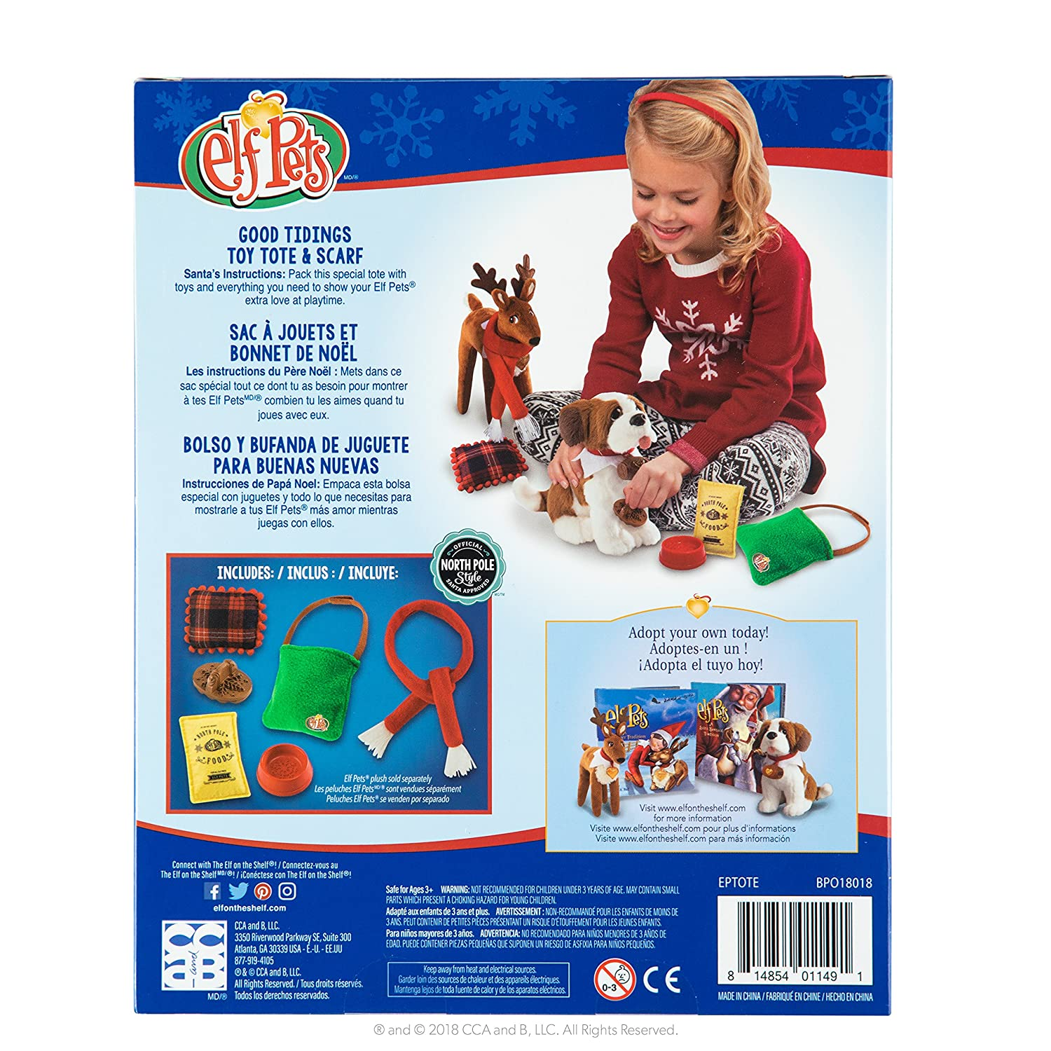 Amazon.com: The Elf on the Shelf Claus Couture Collection Good Tidings Toy Tote and Scarf: Toys & Games