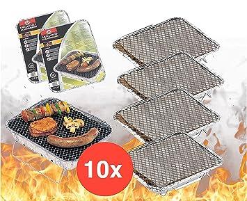 10 x desechables Barbacoa Barbacoa desechable camping Grill - Barbacoa Parrilla de aluminio a barbacoas aluminio carcasa con carbón picnic barbacoa Carbón ...