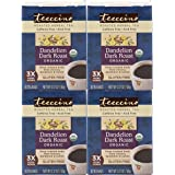 Teeccino Dandelion Dark Roast Organic Dandelion Root Roasted Herbal Tea, Caffeine Free, Gluten Free, Acid Free, Prebiotic, 10 Tea Bags (Pack of 4)